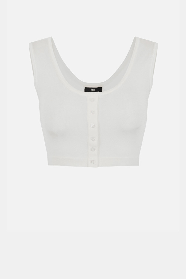 Knit crop top with buttons by Elisabetta Franchi