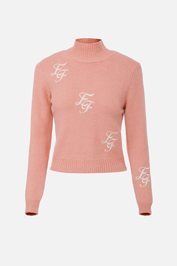 High-collar jumper with EF embroidery