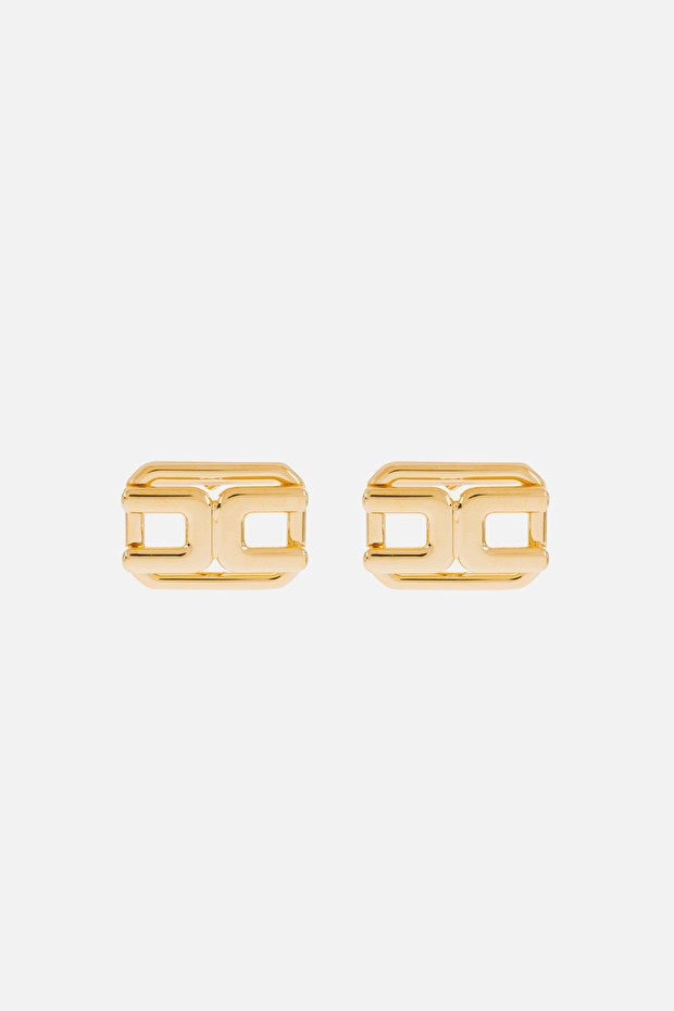 Elisabetta Franchi light gold earrings with logo