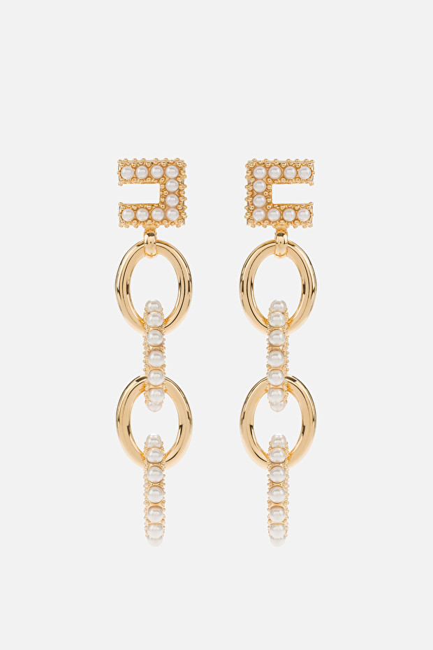 Pendant earrings with maxi pearls
