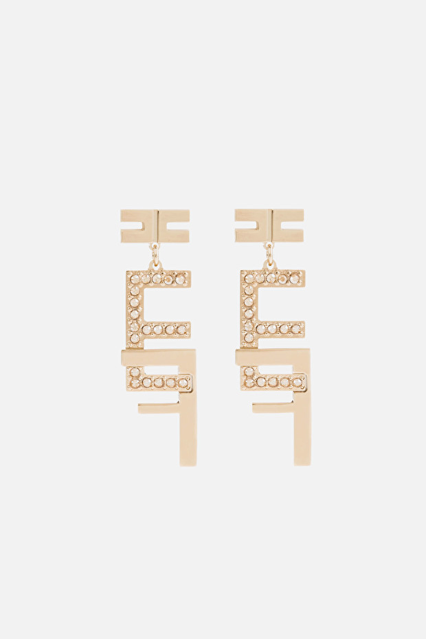 Elisabetta Franchi double logo pendant earrings made of rhinestones