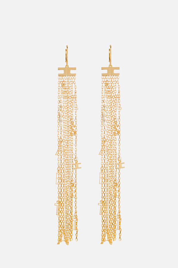 Light gold pendant earrings with charms and letters
