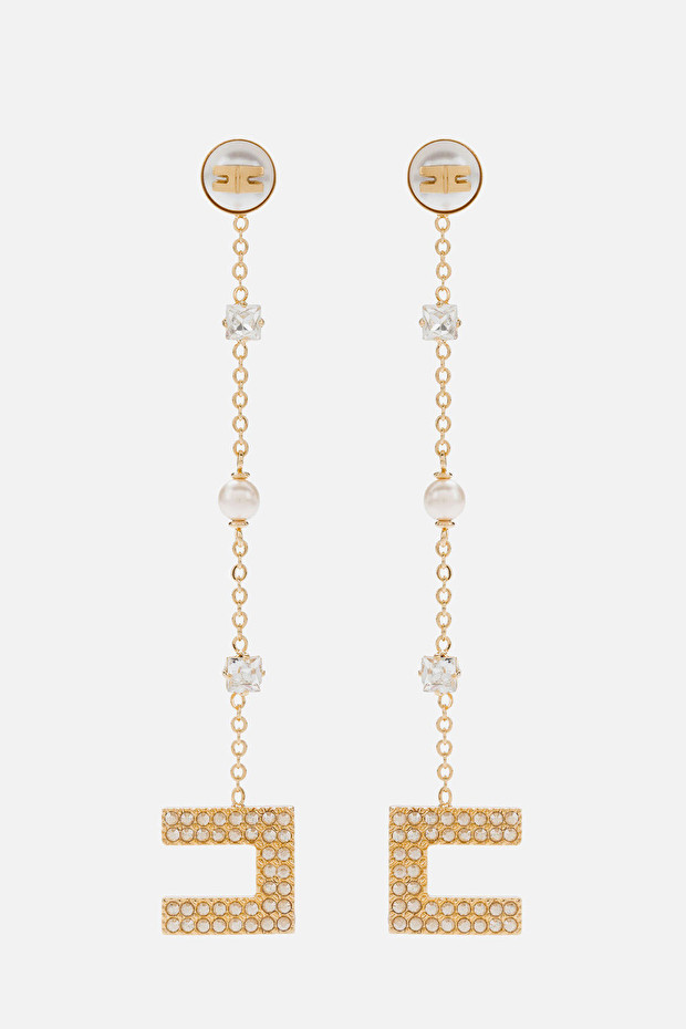 Pendant earrings with rhinestones and pearls