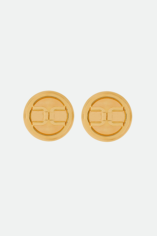 Button earrings with Elisabetta Franchi gold logo