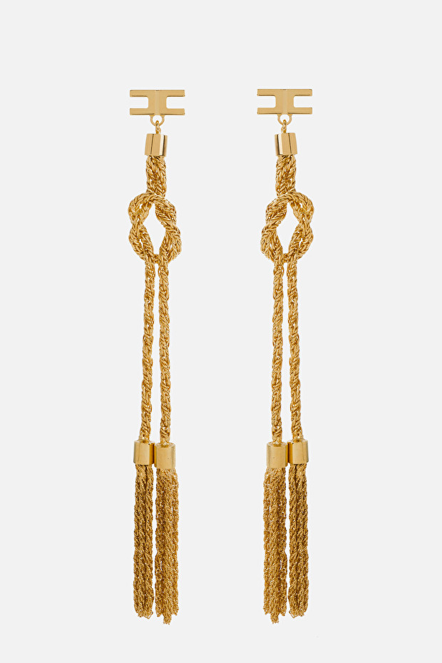 Earrings with golden tassels