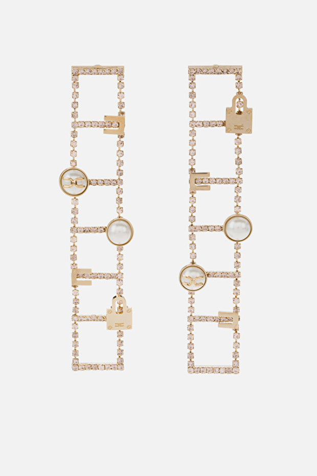 Earrings with light gold charms