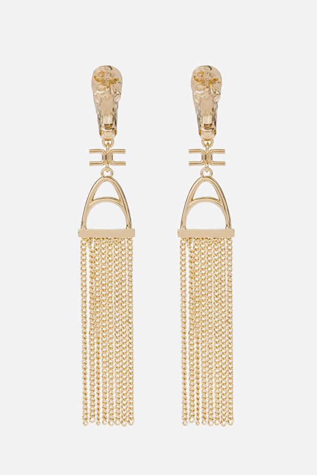 Pendant earrings with golden stirrup