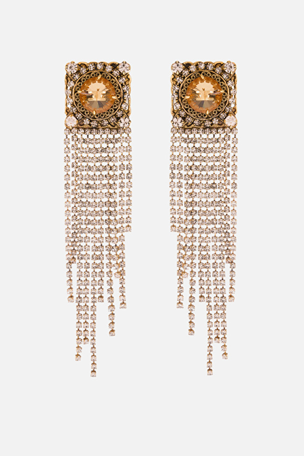 Earrings with cascading rhinestones