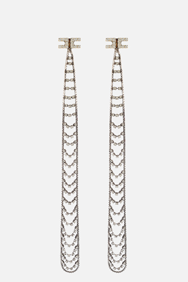 Chandelier earrings with rhinestones and Elisabetta Franchi logo