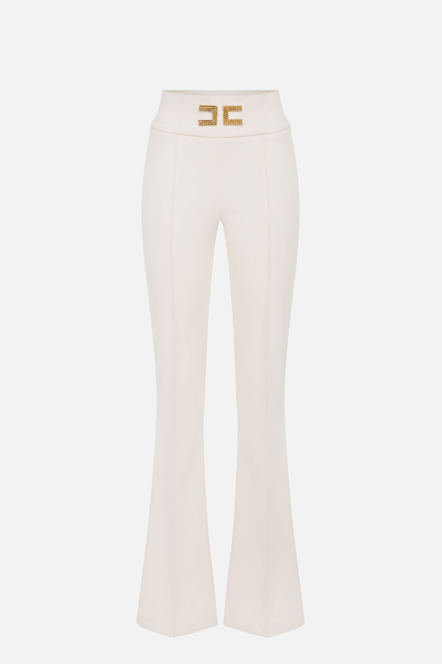 Bell-bottom trousers with logo embroidery