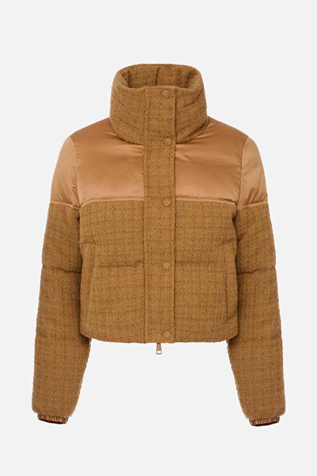 Tweed and voile blend micro quilted jacket