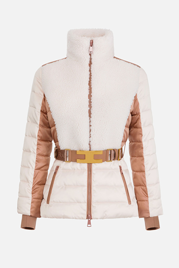 Short padded quilted coat with belt