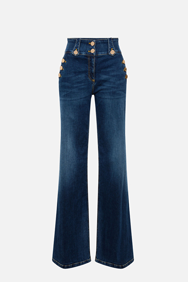 High waist jeans with gold buttons by Elisabetta Franchi