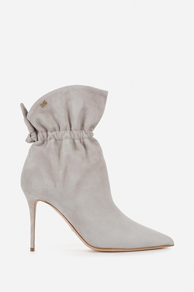 Suede leather ankle boots with bow