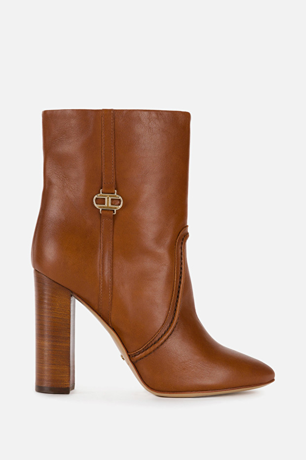 Elisabetta Franchi ankle boots with light gold logo