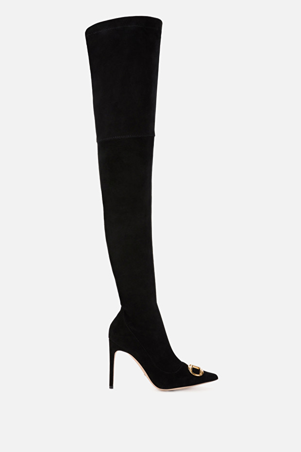 Over-the-knee boots with golden logo