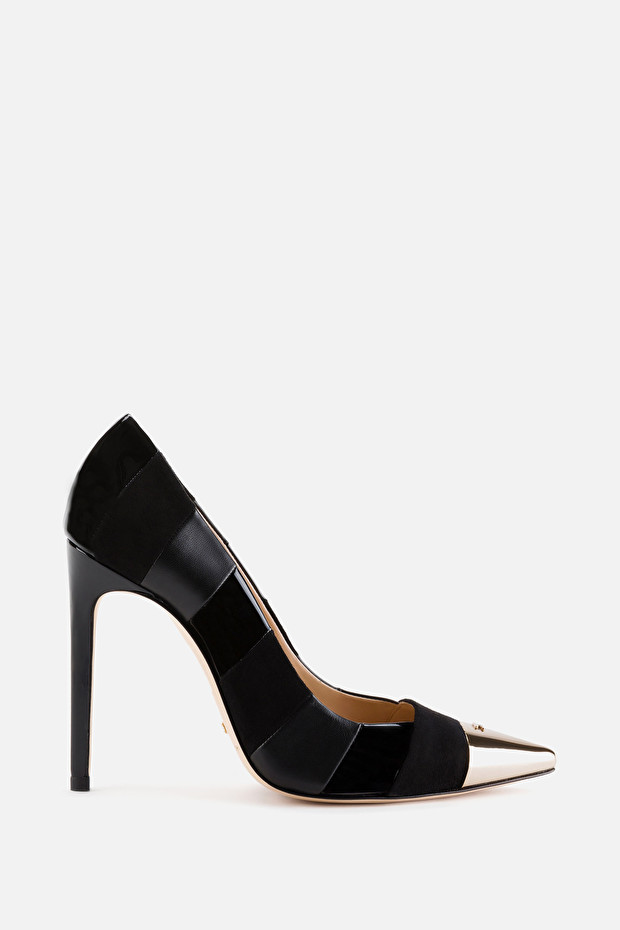 Suede pumps with laminated toe