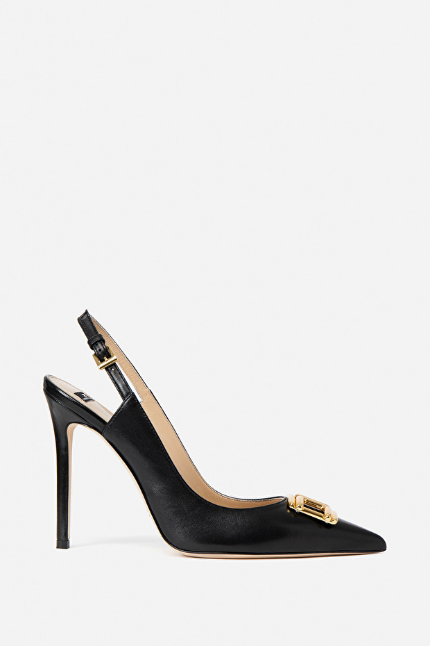 Open pumps with gold logo