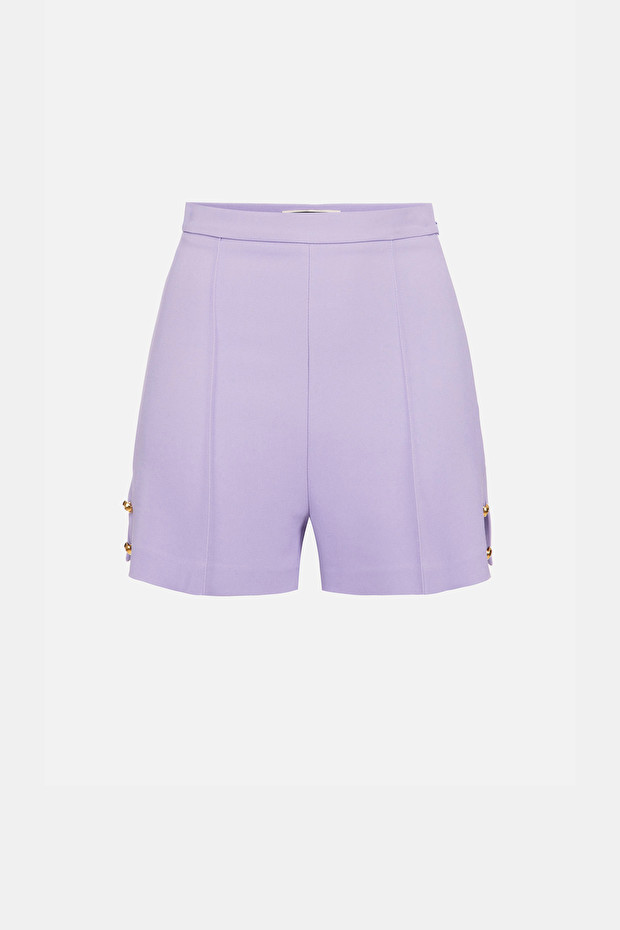 High waist shorts with side slits
