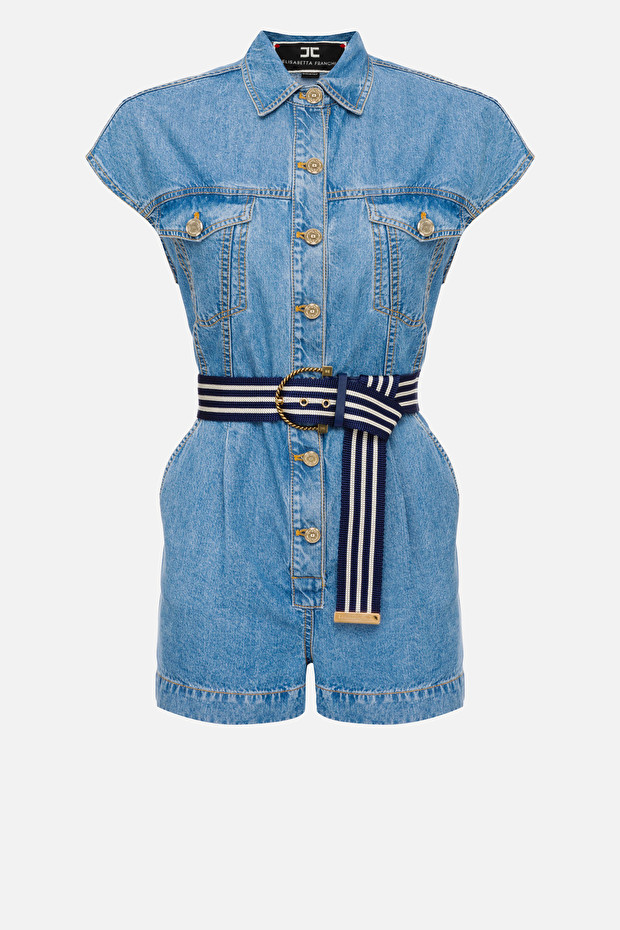 Denim jumpsuit with belt