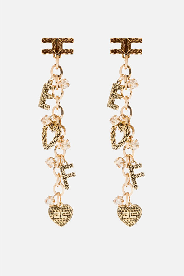 Long earrings with logo and charms